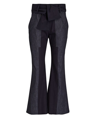 Nellie Flared High-Rise Pants, BLUE-DRK, hi-res