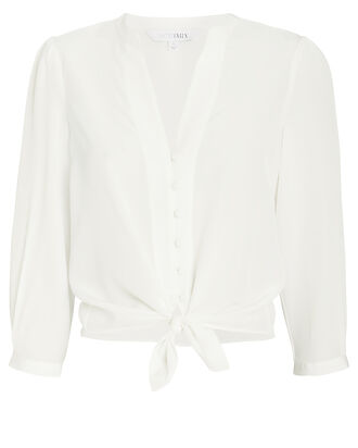 Violet Silk Tie Top, WHITE, hi-res