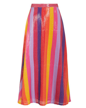 Penelope Striped Sequin Skirt, MULTI, hi-res