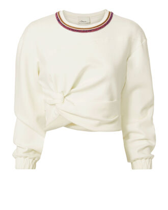 Twisted Crop Sweater, WHITE, hi-res