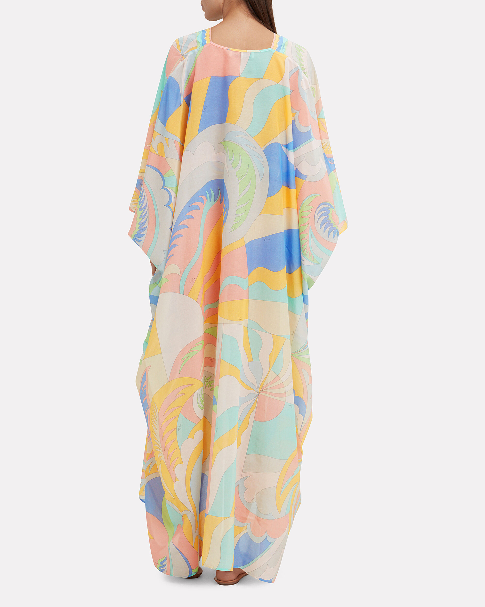 Belted Caftan Coverup, WHITE/ORANGE/BLUE, hi-res
