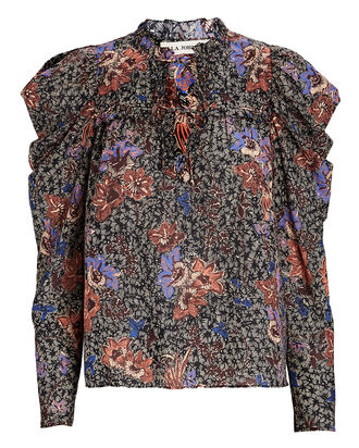 Remy Puff Sleeve Floral Blouse, BLACK/BLUSH, hi-res