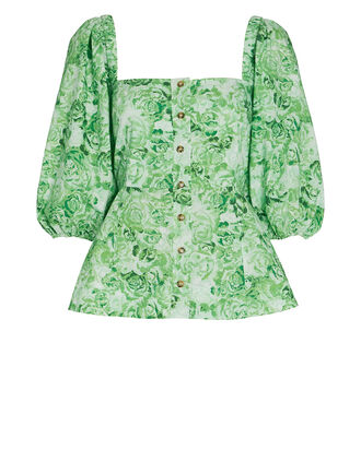 Floral Puff Sleeve Poplin Top, GREEN-LT, hi-res