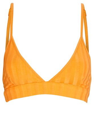 Rikki Rib Knit Triangle Bralette, ORANGE, hi-res