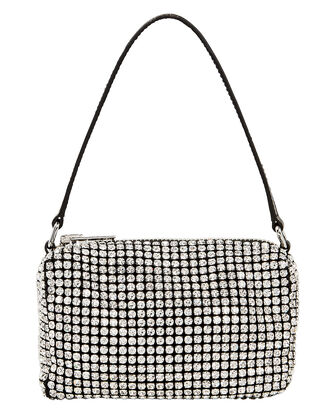 Crystal Chainmesh Clutch, CRYSTAL/BLACK, hi-res