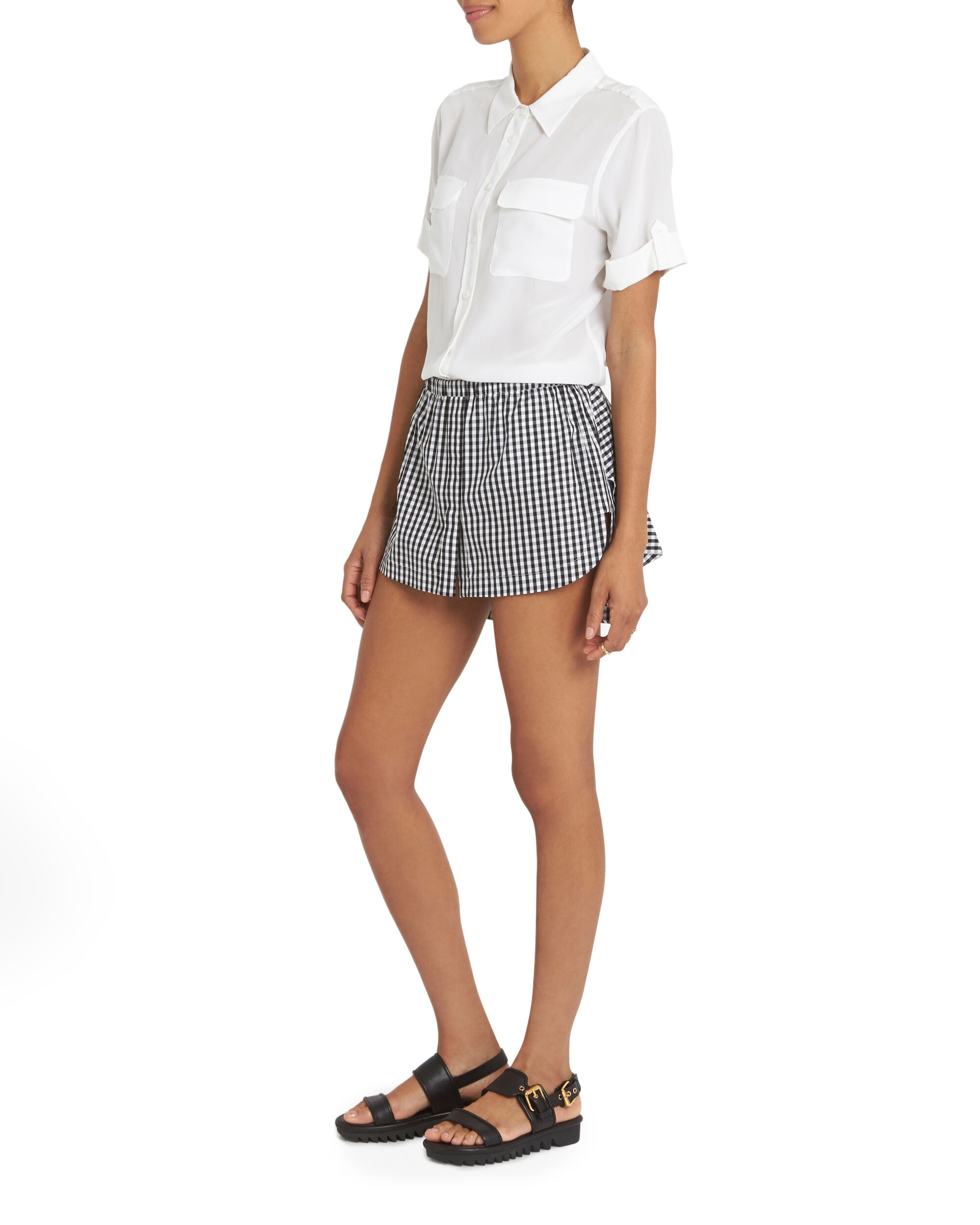 Slim Signature White Double Flap Pocket Short Sleeve Blouse, WHITE, hi-res