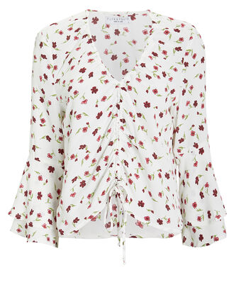 Kristy Drawstring Floral Blouse, MULTI, hi-res