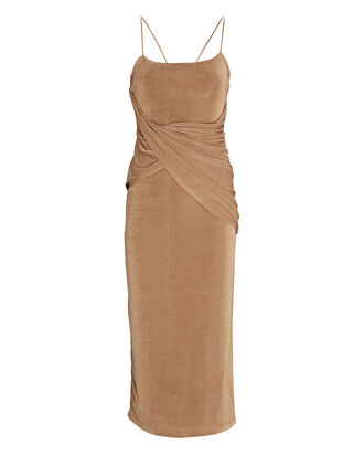 Evelyn Draped Velvet Midi Dress, LIGHT BROWN, hi-res