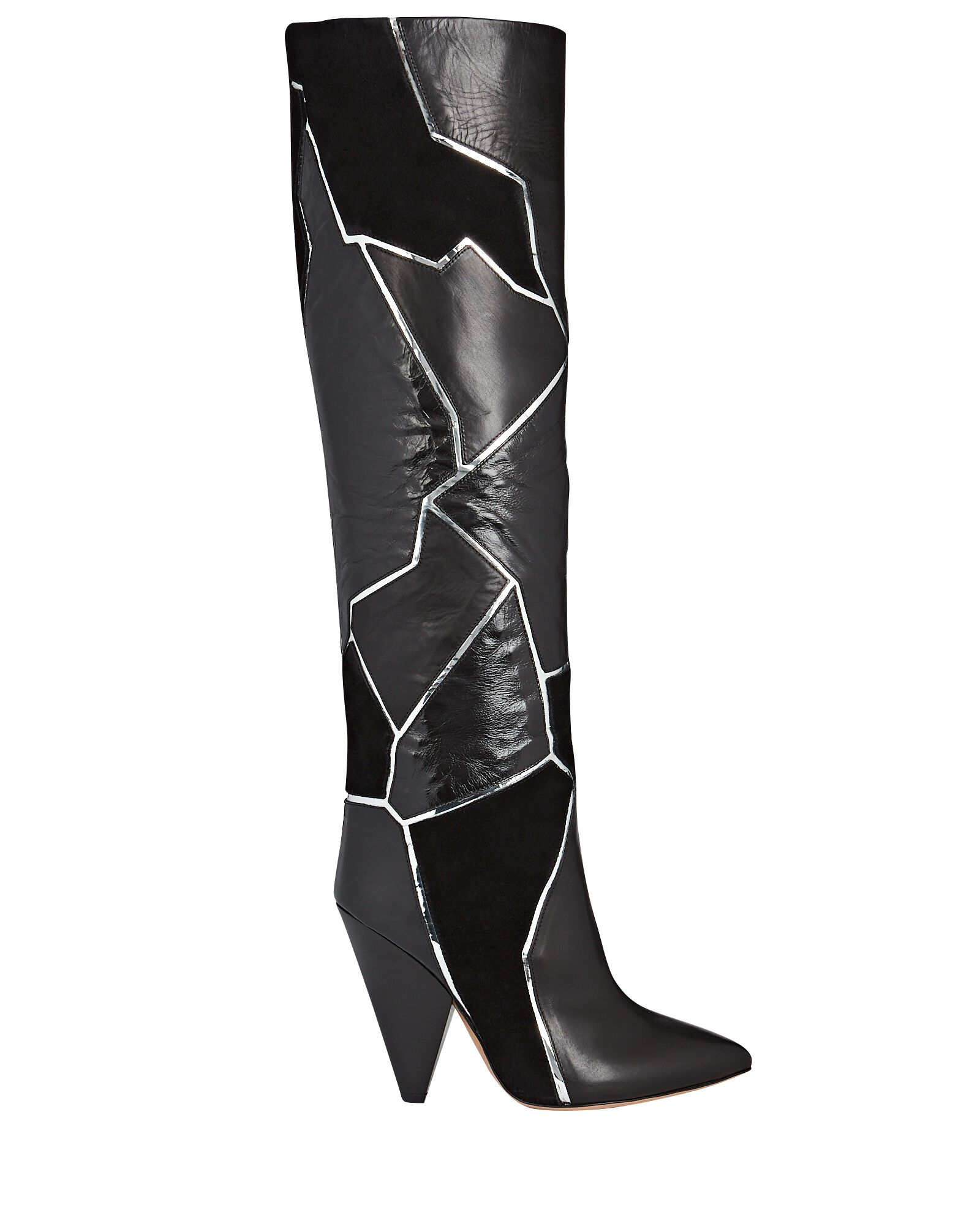 Lytica Patchwork Knee-High Boots, BLACK, hi-res
