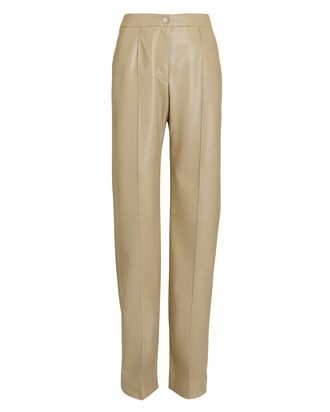 Vegan Leather Slouch Pants, BEIGE, hi-res