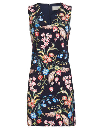 Cady V-Neck Floral Dress, NAVY, hi-res