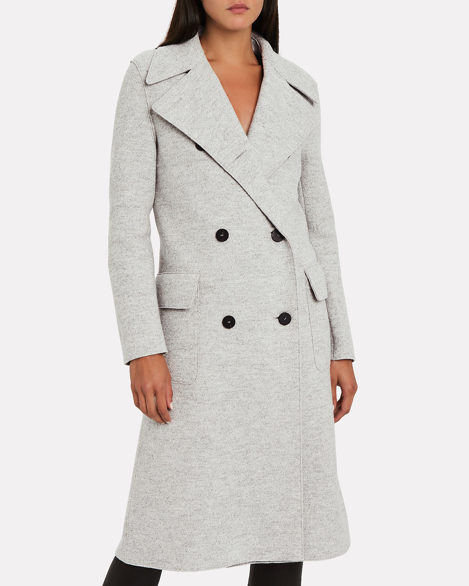 Boiled Wool Double Breasted Military Coat, GREY, hi-res