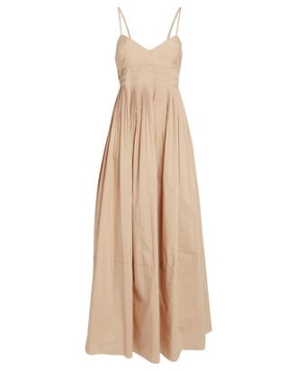 Susan Pleated Sleeveless Dress, BEIGE, hi-res