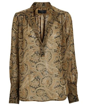 Colleen Paisley Silk Popover Blouse, MULTI, hi-res
