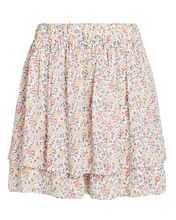 Printed Georgette Mini Skirt, IVORY/YELLOW, hi-res