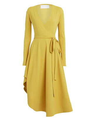 Flamenco Asymmetric Jersey Wrap Dress, CITRON, hi-res