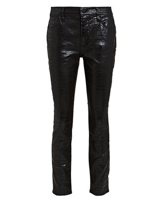 Le High Skinny Croc-Embossed Jeans, BLACK, hi-res