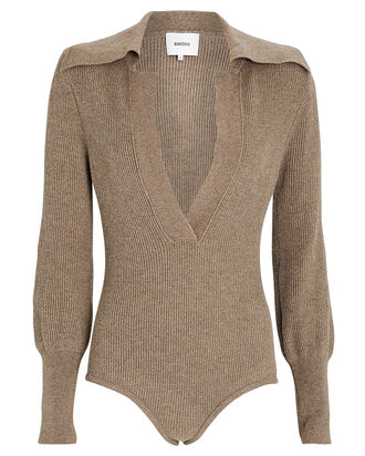 Dane Rib Knit Bodysuit, BEIGE, hi-res