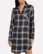 Bianca Metallic Plaid Shirt Dress, ONYX/SLATE PLAID, hi-res