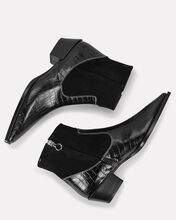 Jade Croc-Embossed Western Booties, BLACK, hi-res