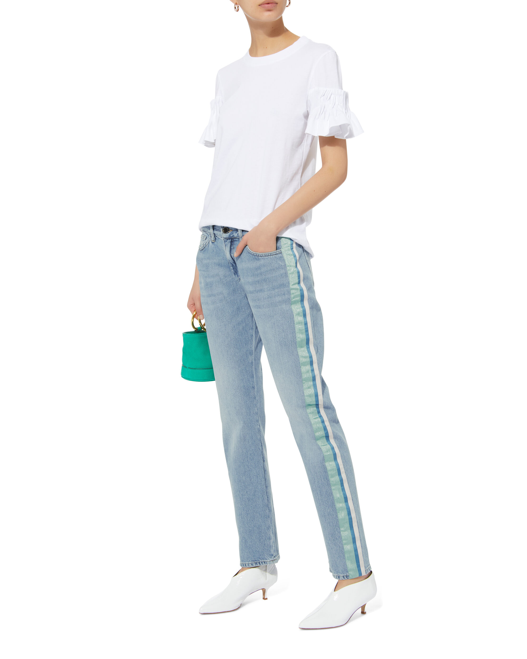 Ribbon Side Jeans, DENIM, hi-res