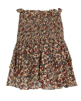 Josephine Ruffled Floral Mini Skirt, BEIGE/BURGUNDY, hi-res
