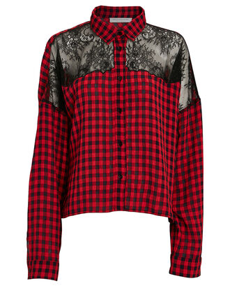 Lace Paneled Plaid Button-Down Shirt, RED, hi-res