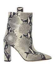 Python-Embossed Leather Booties, GREY PYTHON, hi-res