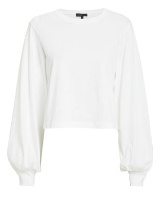 Stark Cropped Jersey Pull-Over, WHITE, hi-res