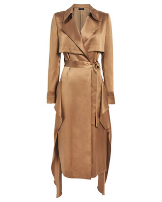 Satin Trench Wrap Dress, CAMEL, hi-res