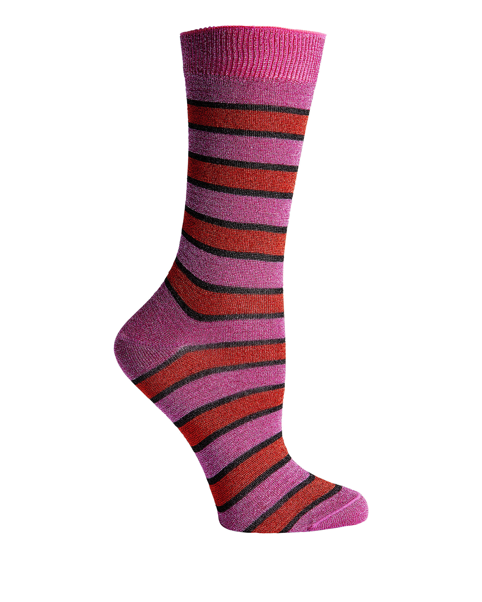 Striped Fuschia Socks, STRIPE, hi-res