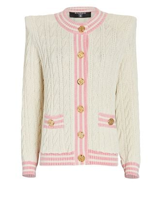 Wool-Blend Cable Knit Cardigan, IVORY, hi-res