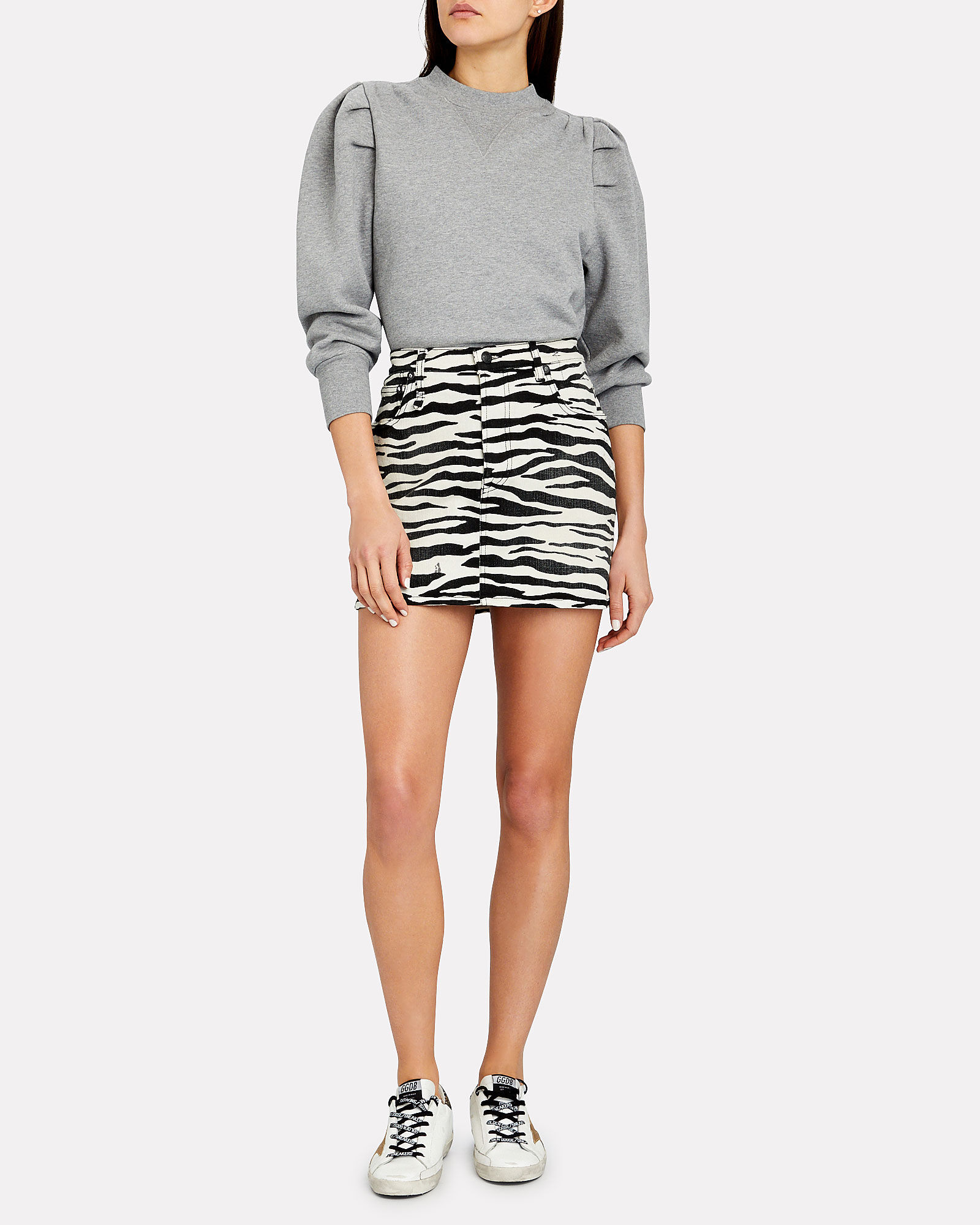 Zebra Print Denim Mini Skirt, MULTI, hi-res
