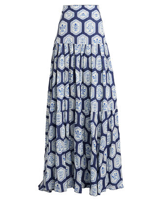 Anis Printed Linen Maxi Skirt, NAVY/WHITE FLORAL, hi-res