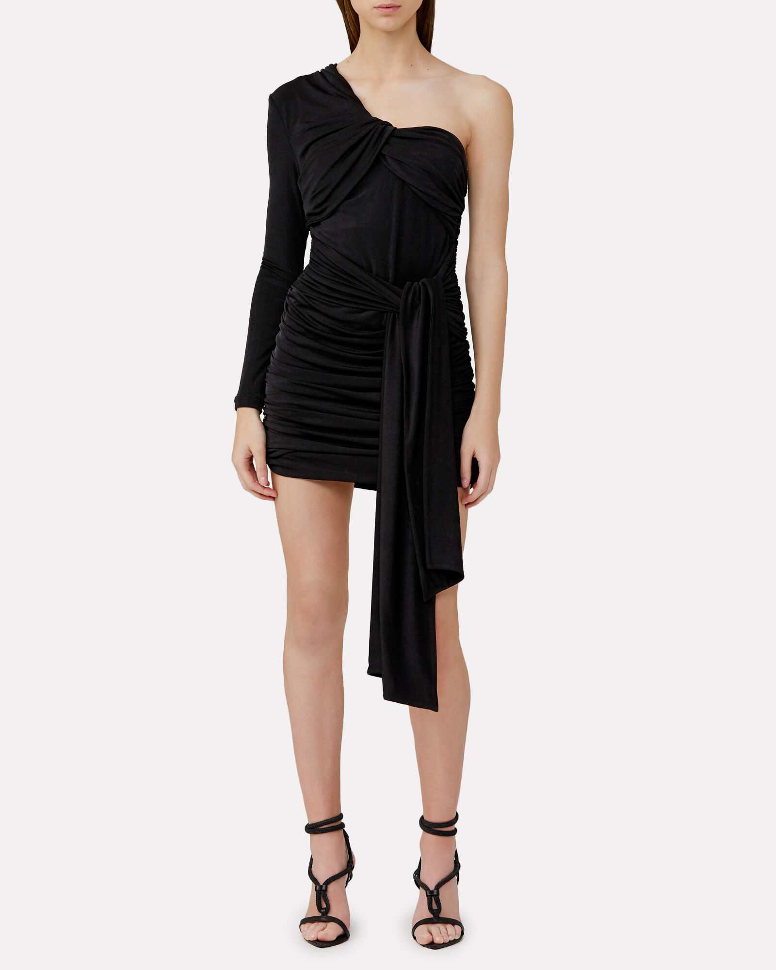 Arta Ruched One-Shoulder Mini Dress, BLACK, hi-res