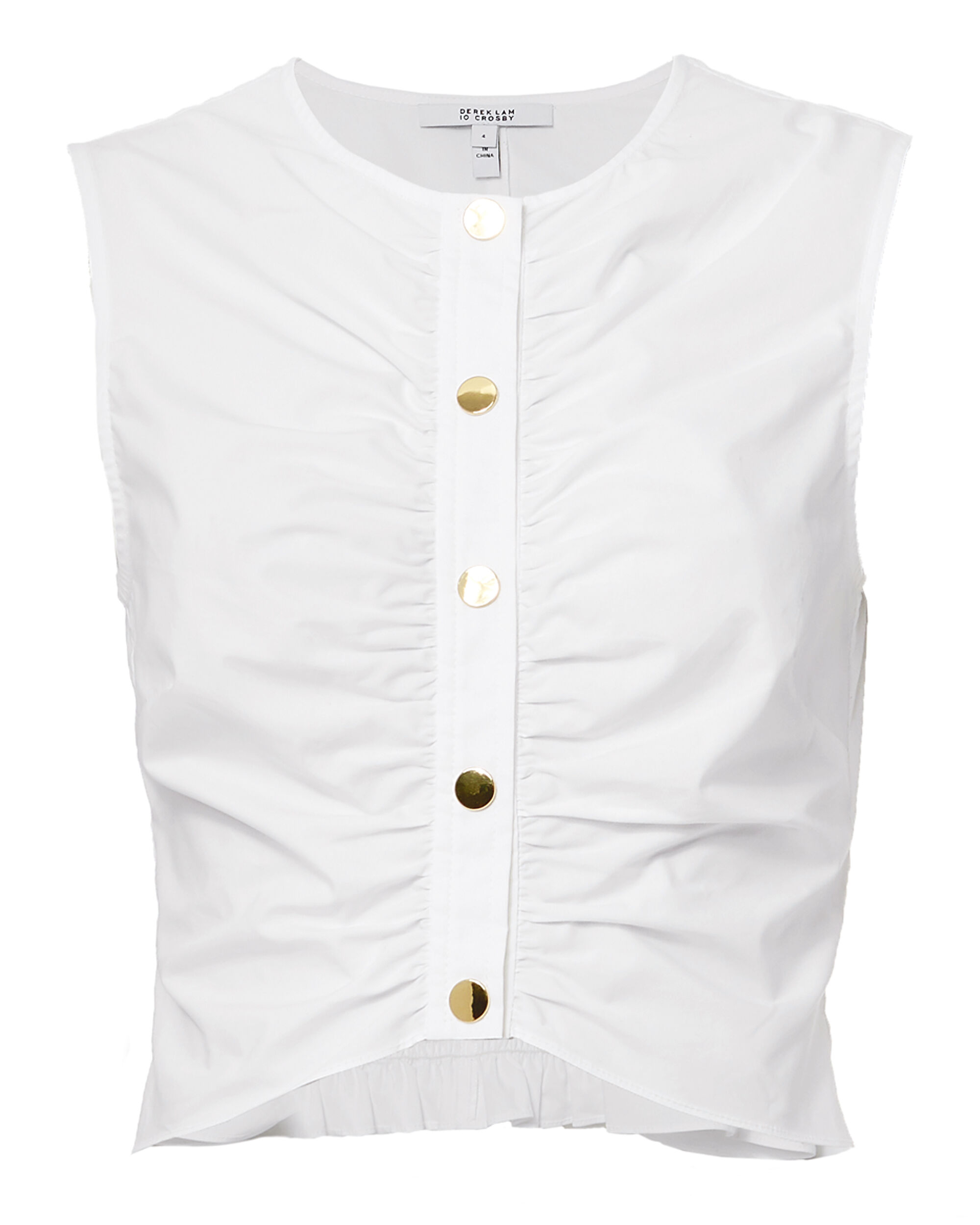 Ruched Top, WHITE, hi-res