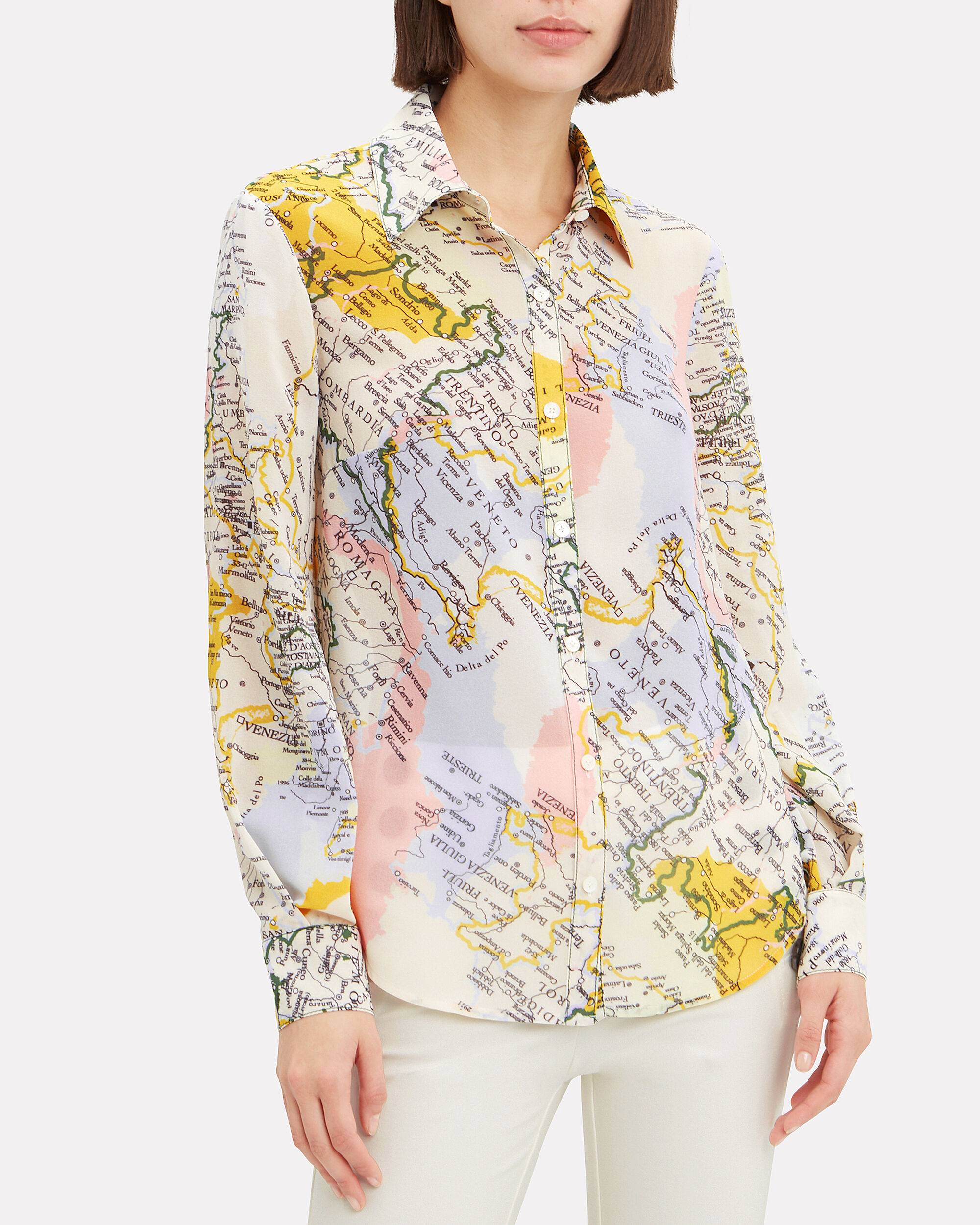 Map Print Button Down Shirt, WHITE/YELLOW/BLUE, hi-res