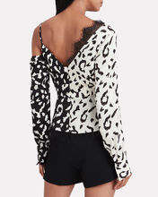 Crepe Leopard Print Wrap Top, BLACK/WHITE LEOPARD, hi-res
