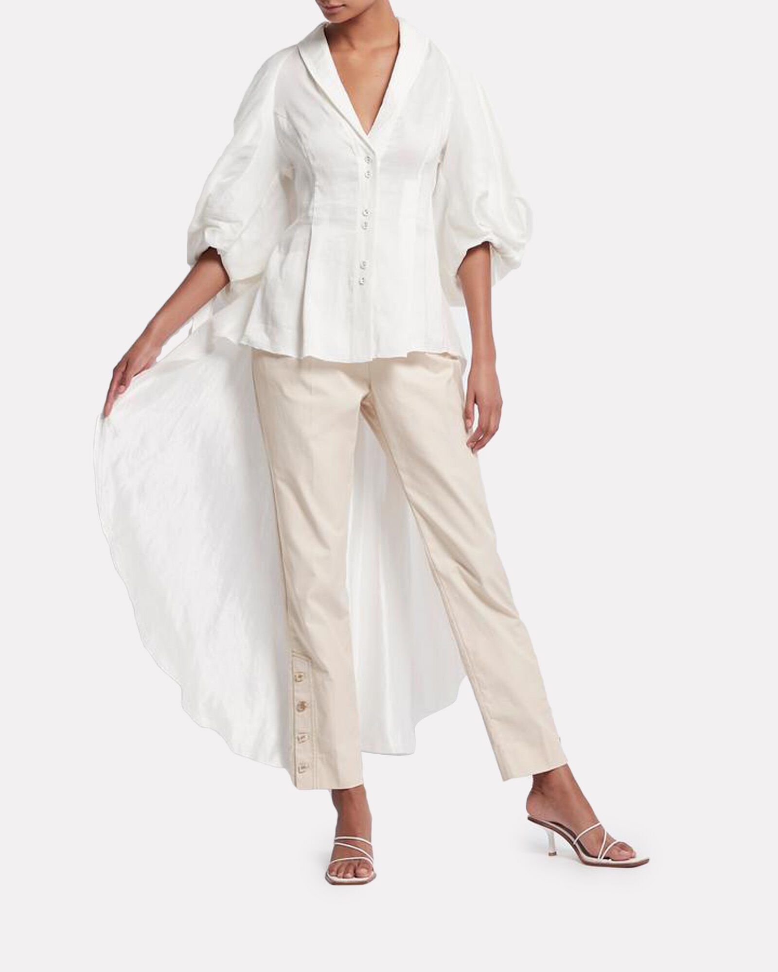 Allégro High-Low Silk-Linen Blouse, WHITE, hi-res