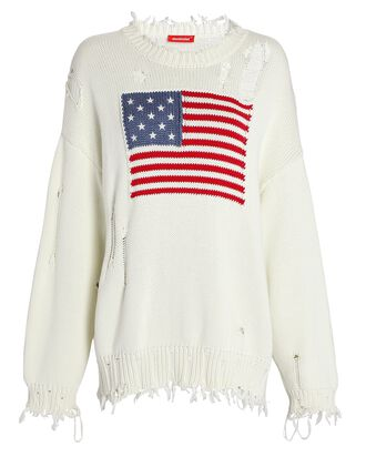 Flag Crewneck Sweater, WHITE, hi-res