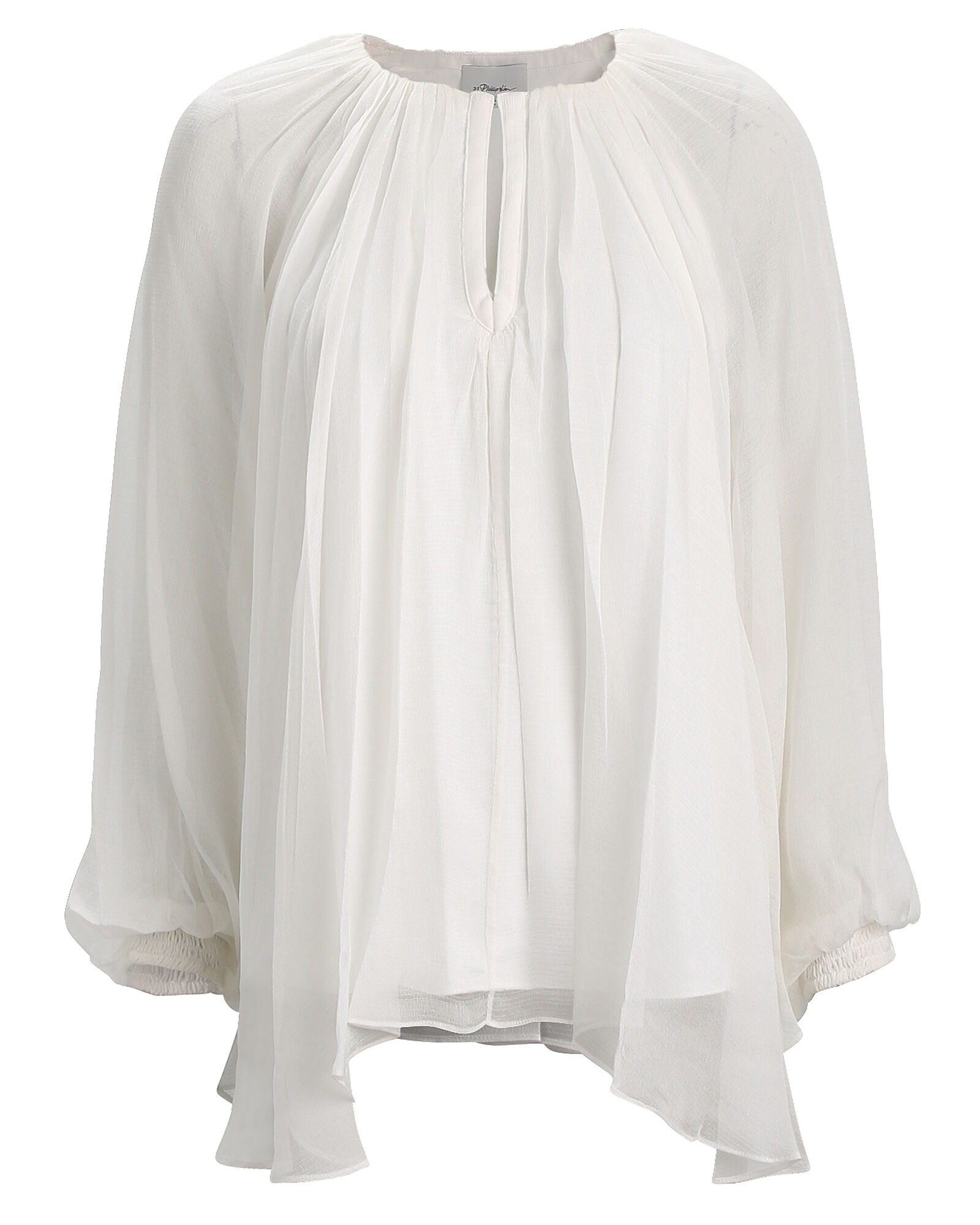 Pleated Silk Chiffon Blouse, IVORY, hi-res