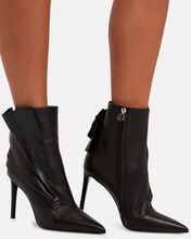 Ness Ruffled Leather Ankle Boots, BLACK, hi-res