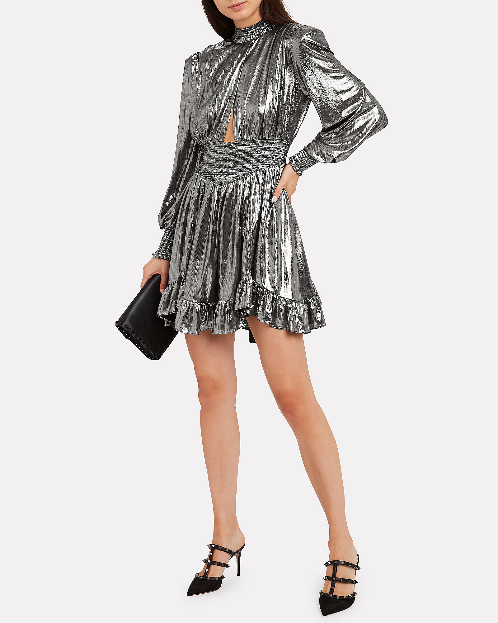 Melody Lamé Mini Dress, GUNMETAL, hi-res