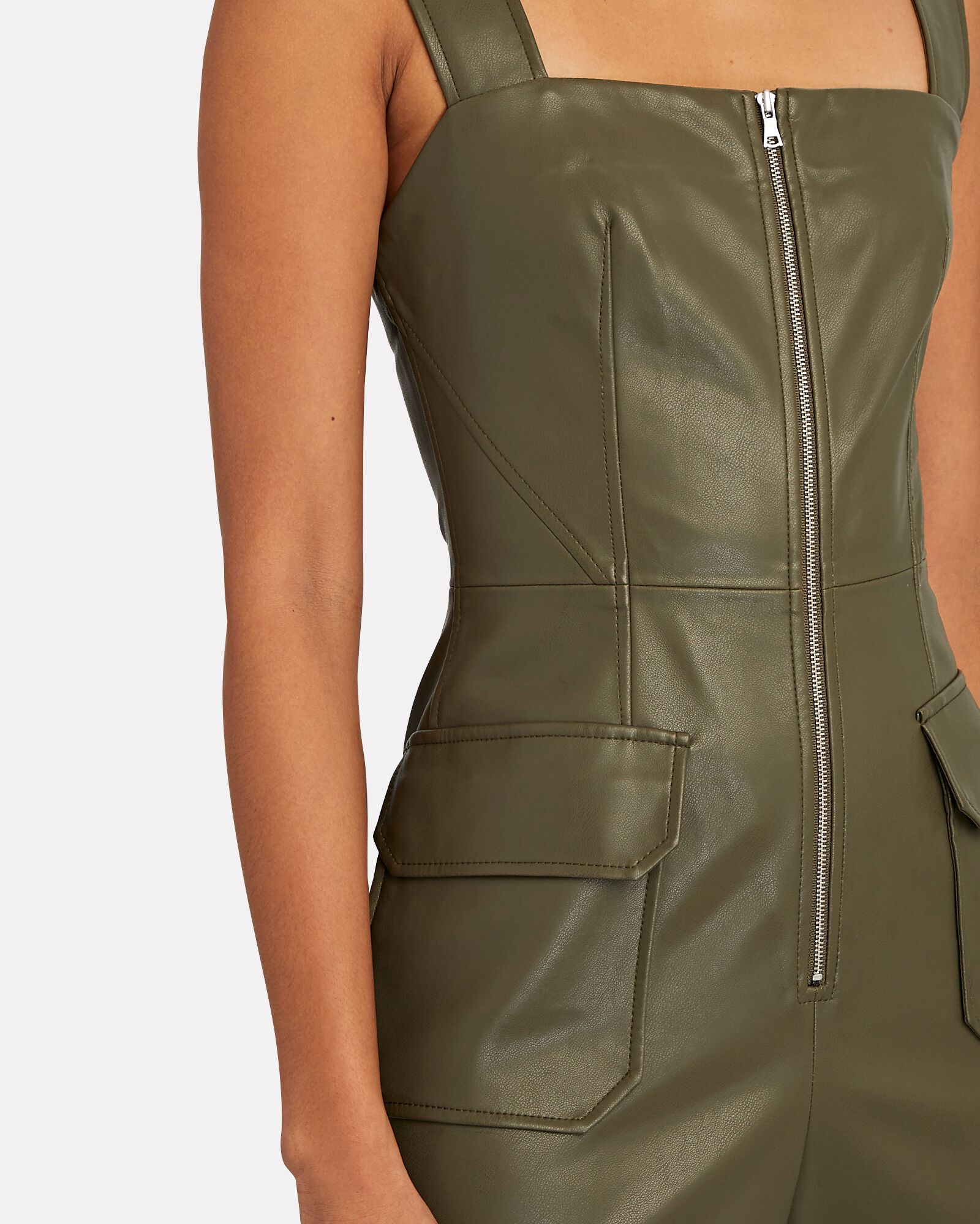 Reverie Sleeveless Vegan Leather Jumpsuit, OLIVE/ARMY, hi-res