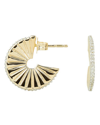 Diamond Ray J Hoops, YELLOW GOLD, hi-res