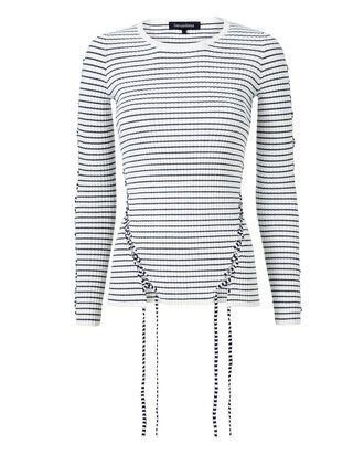 Lace-Up Stripe Pullover Sweater, STRIPE, hi-res