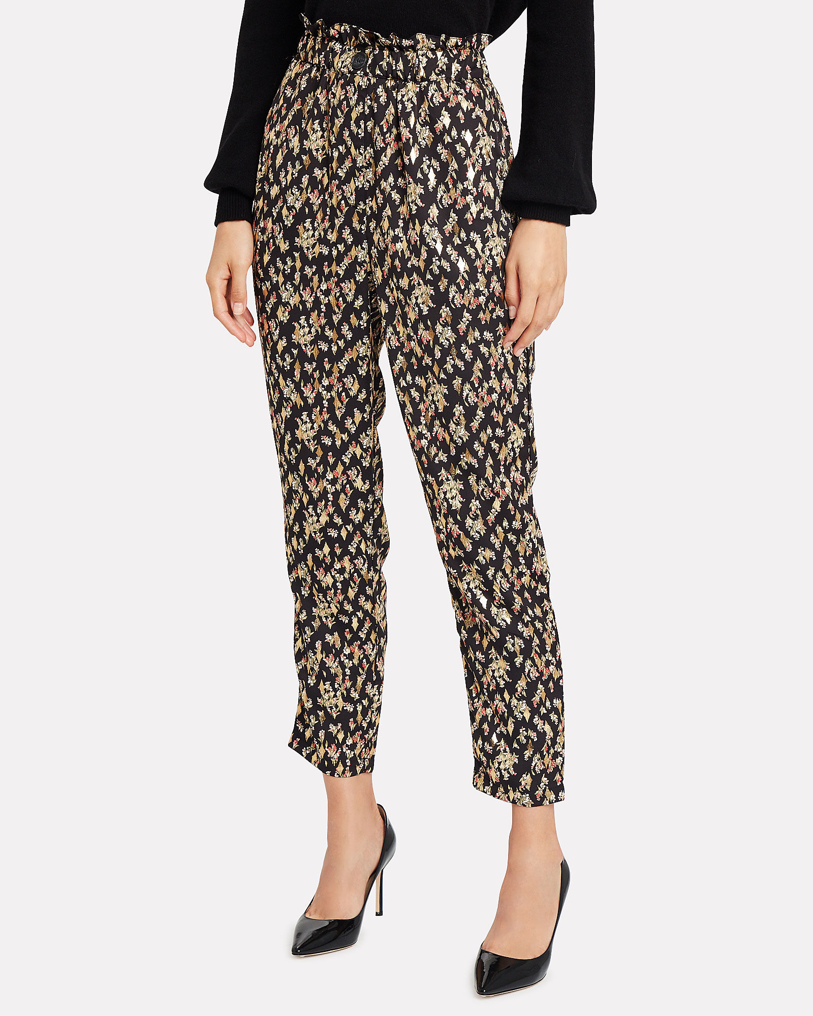 Clover Pleated Floral Pants, BLACK, hi-res