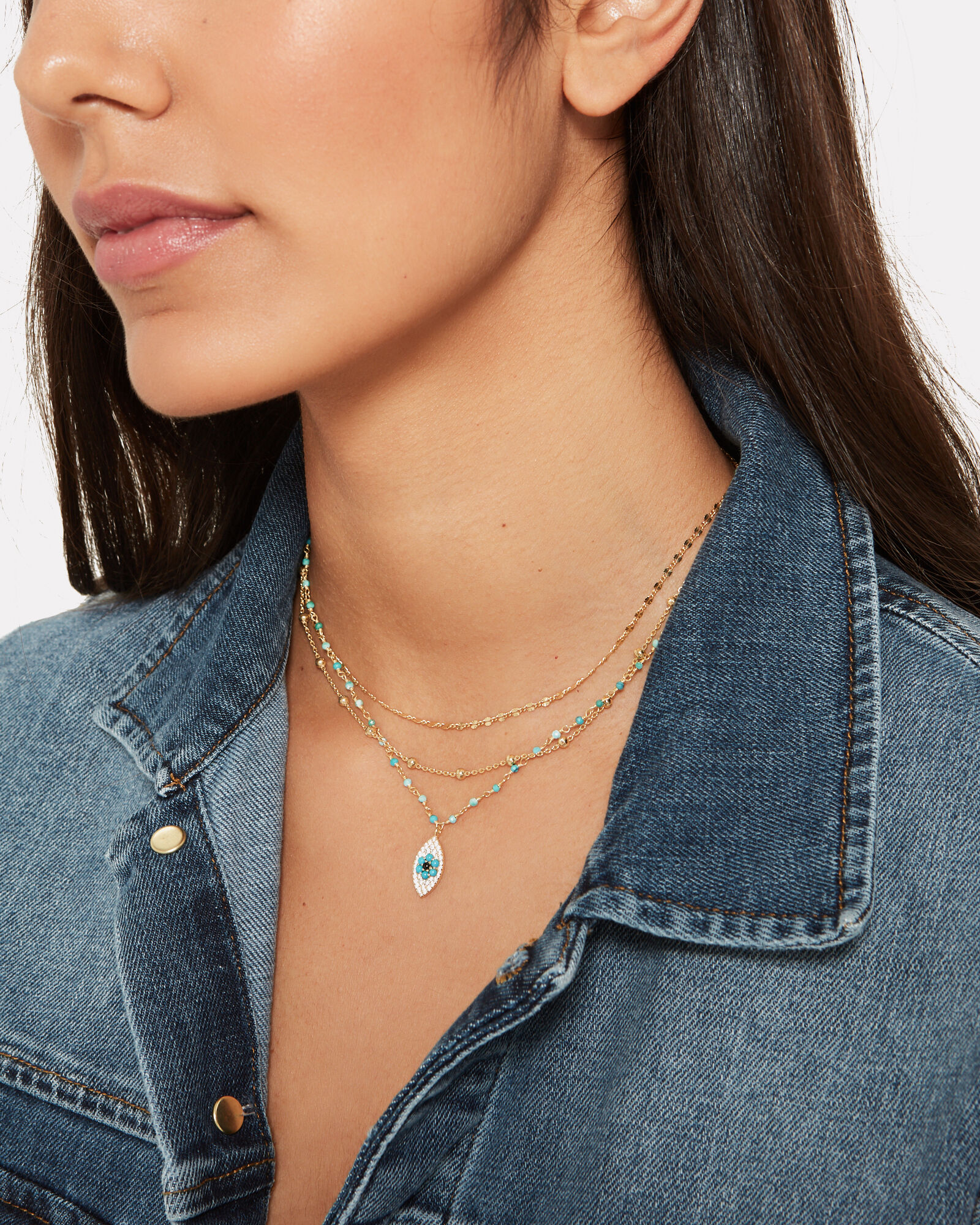 Lina Turquoise & Smokey Quartz Chain Necklace, BLUE-MED, hi-res