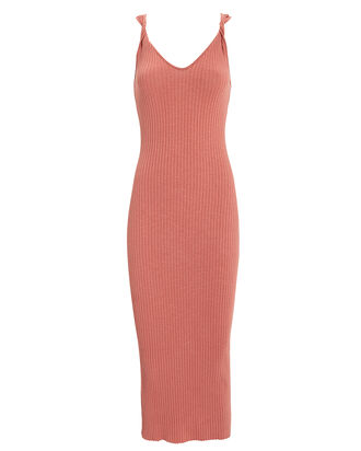 Twist Front Midi Dress, PINK, hi-res
