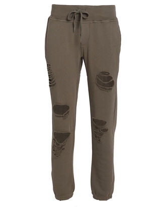 Sayde Distressed French Terry Sweatpants, OLIVE, hi-res